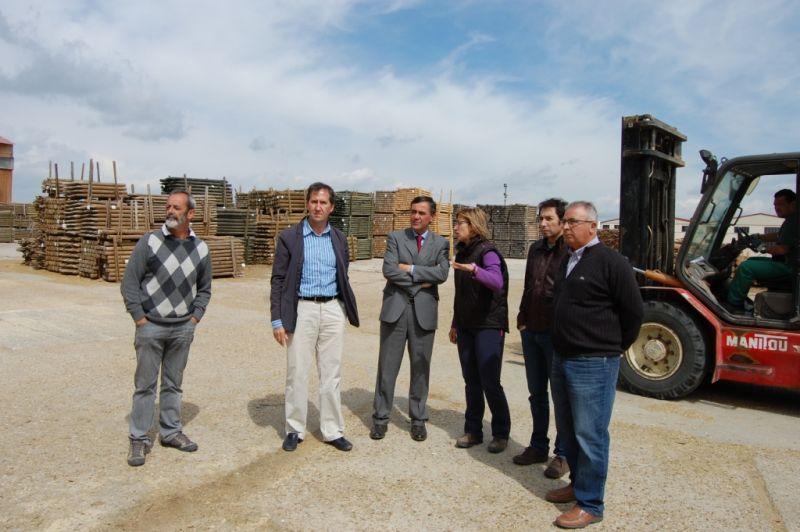 El presidente de la Diputación de Soria visita la empresa fábrica de pellets de Amatex en Cabrejas del Pinar